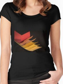 Colourful strips of cardboard as texture and background  Women's Fitted Scoop T-Shirt