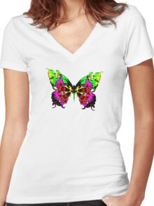 colourful butterfly in flight Women's Fitted V-Neck T-Shirt