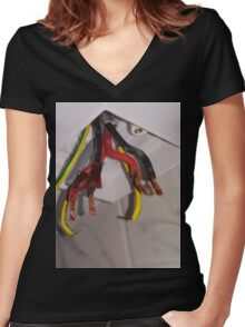 Ceiling Sprouting Cables  Women's Fitted V-Neck T-Shirt