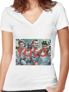 YOLO Ghostbusters Women's Fitted V-Neck T-Shirt