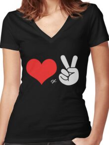 Love and Peace (2) Women's Fitted V-Neck T-Shirt