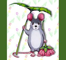 Cute Mouse with Umbrella Leaf and Pink Flower by Joyce Geleynse