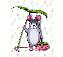 Cute Mouse with Umbrella Leaf and Pink Flower Photographic Print