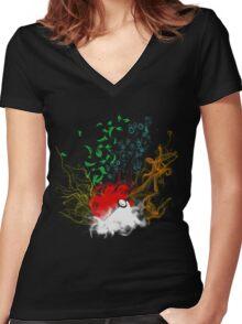 Elemental pokèball Women's Fitted V-Neck T-Shirt