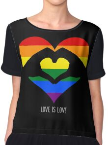 Love Is Love LGBT Rainbow Heart  Chiffon Top