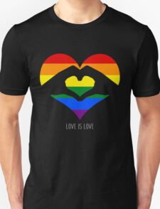 Love Is Love LGBT Rainbow Heart  Unisex T-Shirt