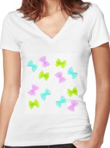 Butterfly pasta Women's Fitted V-Neck T-Shirt