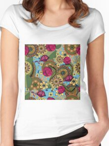 floral pattern, floral ornament Women's Fitted Scoop T-Shirt