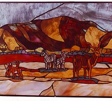 Stained glass panel - Kalahari scene by Maree  Clarkson