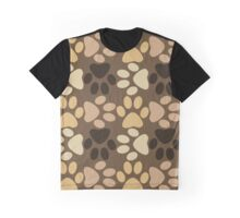 Paw Print Pattern in Browns Graphic T-Shirt
