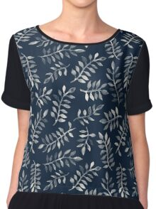 White Leaves on Navy - a hand painted pattern Chiffon Top