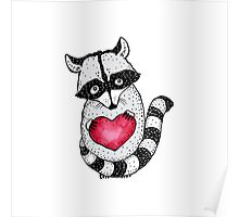 Raccoon carrying a heart.  Poster