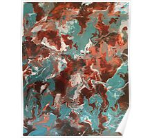 Copper Teal Abstract  Poster