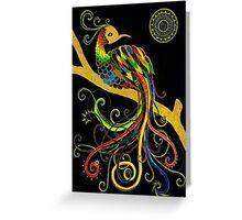 A Rainbow Perched Under a Mandala Moon Greeting Card