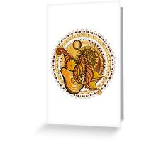 composition with pears and a floral pattern Greeting Card