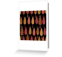 Retro modern trees forest seamless pattern background Greeting Card
