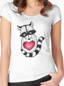 Raccoon carrying a heart.  Women's Fitted Scoop T-Shirt