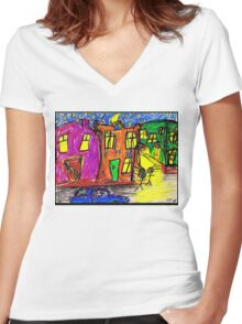 We live in the City Women's Fitted V-Neck T-Shirt