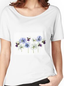 backlit pansy petals on a lightbox  Women's Relaxed Fit T-Shirt