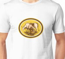 Farmer Milking Cow Oval Woodcut Unisex T-Shirt