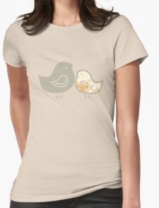 Sweet Yellow Damask Mommy and Baby Chicks Womens Fitted T-Shirt