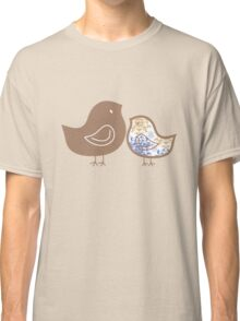Sweet Blue Damask Mommy and Baby Chicks Classic T-Shirt