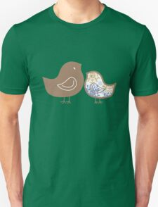 Sweet Blue Damask Mommy and Baby Chicks Unisex T-Shirt
