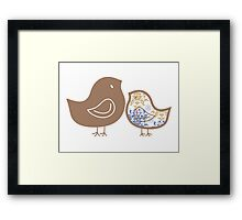 Sweet Blue Damask Mommy and Baby Chicks Framed Print