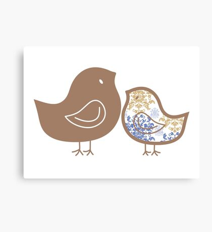 Sweet Blue Damask Mommy and Baby Chicks Canvas Print