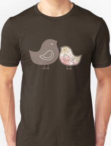 Sweet Pink Damask Mommy and Baby Chicks Unisex T-Shirt