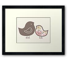Sweet Pink Damask Mommy and Baby Chicks Framed Print
