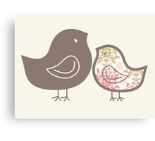Sweet Pink Damask Mommy and Baby Chicks Canvas Print