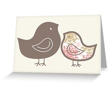 Sweet Pink Damask Mommy and Baby Chicks Greeting Card