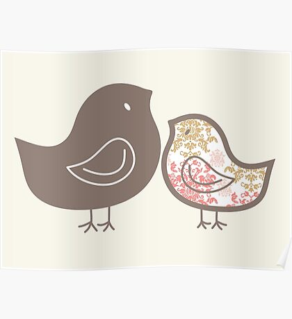 Sweet Pink Damask Mommy and Baby Chicks Poster