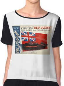 WAR POSTER, Red Duster, Red Ensign, UK, GB, Royal Merchant Navy, WWII, Poster Chiffon Top