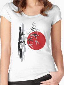 Oriental Red Sunrise Bamboo Zen Women's Fitted Scoop T-Shirt