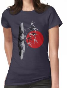 Oriental Red Sunrise Bamboo Zen Womens Fitted T-Shirt