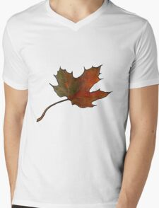 Maple Leaf in Autumn, Hand Drawn, Color Pencil Art Mens V-Neck T-Shirt