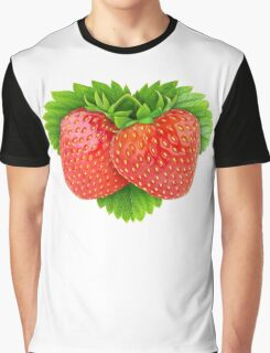 Pair of strawberries on leaf Graphic T-Shirt