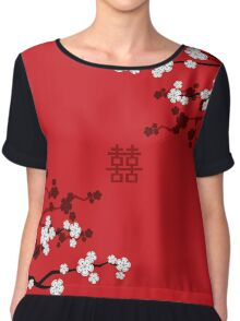 White Sakura Cherry Blossoms on Red and Chinese Wedding Double Happiness Chiffon Top