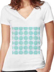 Watercolour Bubble Wrap Pattern Women's Fitted V-Neck T-Shirt