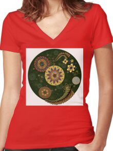 Zentangle style with flowers. Women's Fitted V-Neck T-Shirt