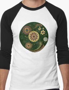 Zentangle style with flowers. Men's Baseball ¾ T-Shirt