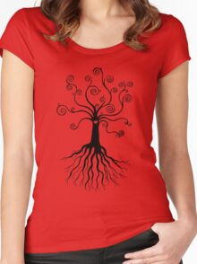 Tree of Life - black and white Women's Fitted Scoop T-Shirt