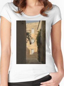 The Sunny Side of the Street - Mdina, the Ancient Capital of Malta Women's Fitted Scoop T-Shirt