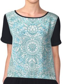 Turquoise Blue, Teal & White Protea Doodle Pattern Chiffon Top