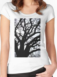 Tree Branch Silhouette  Women's Fitted Scoop T-Shirt