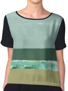 #2 Lines and colors minimalist abstract art print Chiffon Top