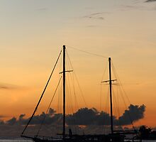 Indian Ocean sunset with yacht by EvieRose