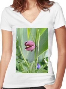Snake's Head Lily - Fritillaria Women's Fitted V-Neck T-Shirt